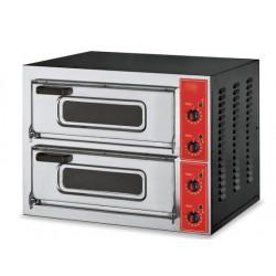 FORNO PIZZA ELETTRICO MICRO con PORTA IN VETRO, 2 camere- fino a 500°C